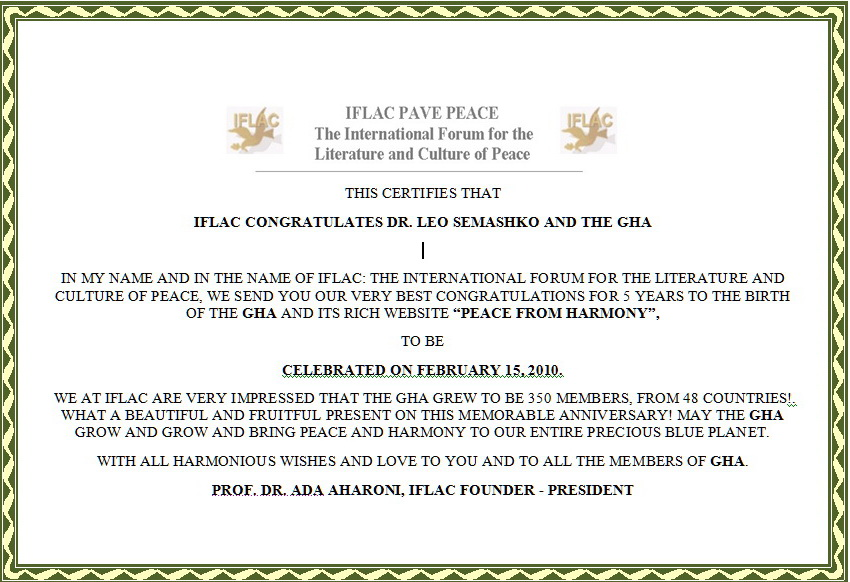 10 years to Global Harmony Association: congratulations ...