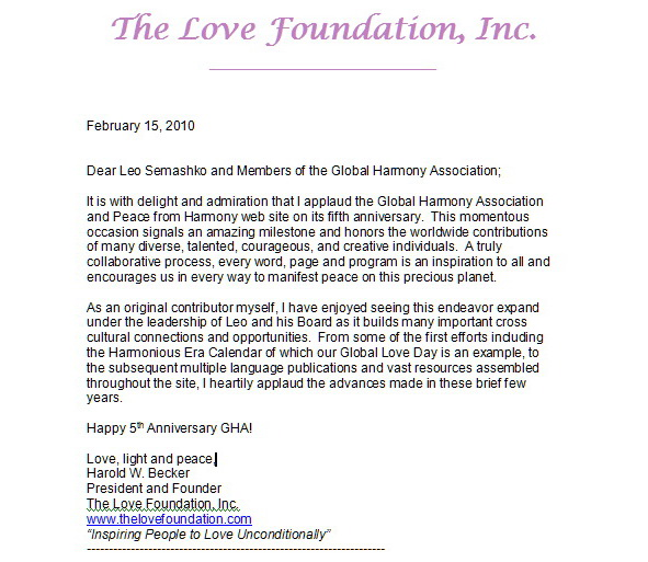 10 Years To Global Harmony Association Congratulations Letters And Perspectives